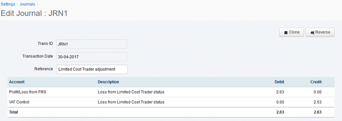 Limited Cost Trader journal