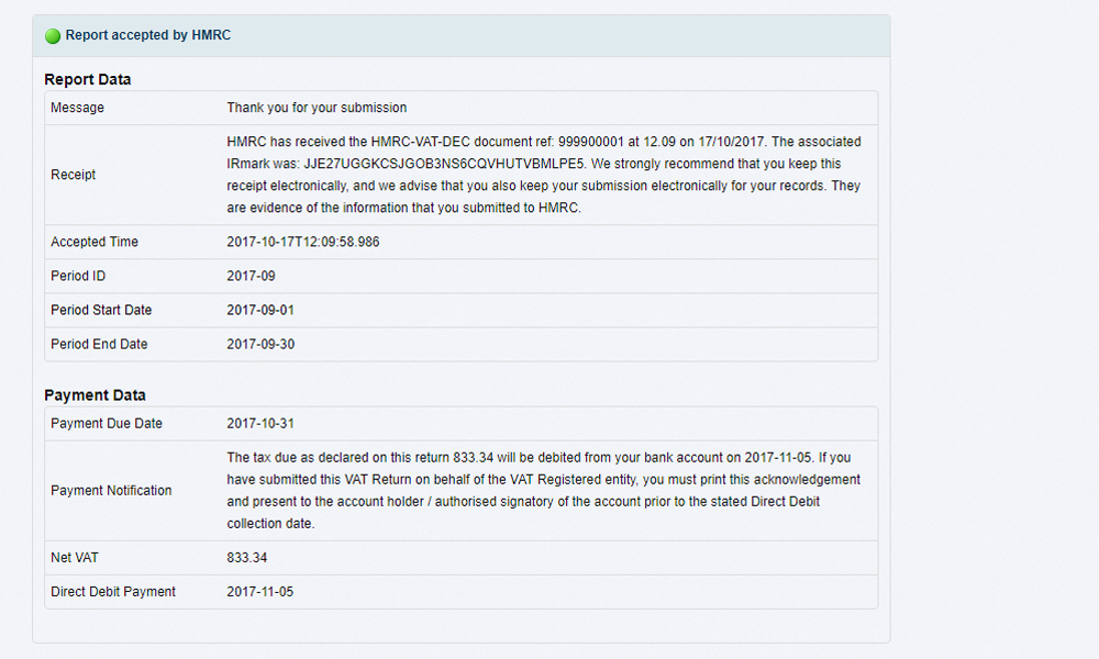 response from HMRC online vat submission